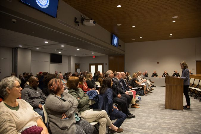 Residents gathered together at the new Haverford Township Building for a town hall meeting to address racism and racial bias in the Haverford Township school district. (Emily Cohen for WHYY)