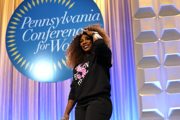 Record-breaking  tennis player, philanthropist Serena Williams appears on stage during Pennsylvania Conference for Women 2018 at Pennsylvania Convention Center on October 12, 2018 in Philadelphia, Pennsylvania.  (Marla Aufmuth/Getty Images )