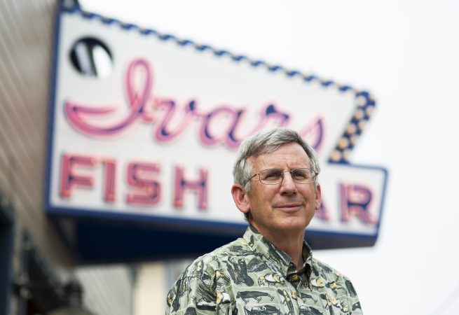 Bob Donegan, president of Ivar's, stands for a portrait outside the Ivar's Fish Bar on the waterfront on Wednesday, August 15, 2018 in Seattle, Washington. Ivar's is one of the local businesses affected by Seattle's Secure Scheduling Ordinance, which took effect in July 2017, aiming to establish more predictable work schedules for employees of large retail and food establishments. (Lindsey Wasson for the Inquirer)