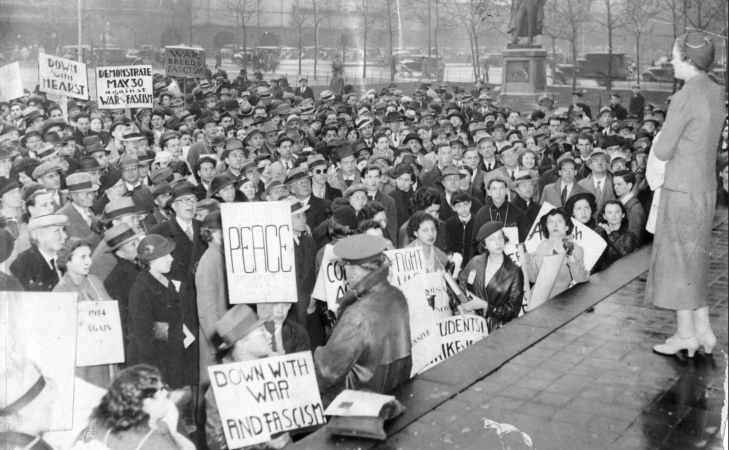 1937: Crowd at Reyburn Plaza advocating for peace, protesting war and fascism. Evening Bulletin   Special Collections Research Center, Temple University Libraries, Philadelphia, PA
