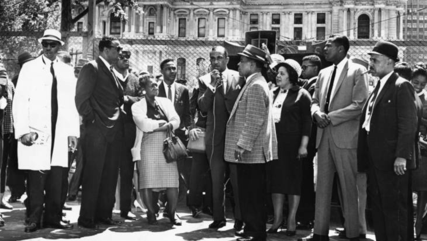 1963: Cecil B. Moore addresses demonstrators at Municipal Services Building site. (Special Collections Research Center, Temple University Libraries, Philadelphia PA)