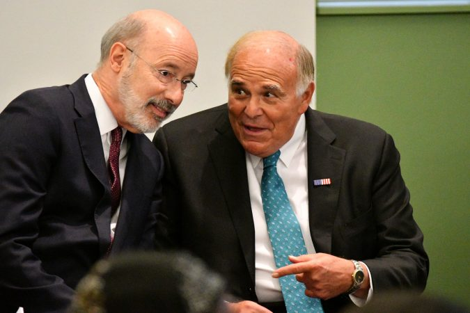 Gov. Tom Wolf and former Gov. Ed Rendell — both Democrats — chat ahead of the forum. (Bastiaan Slabbers for Keystone Crossroads)