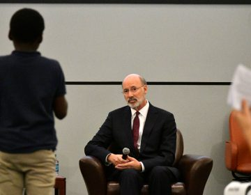 Governor Tom Wolf listens to a question from a student at a forum at the School District of Philadelphia's headquarters (Bastiaan Slabbers for WHYY)