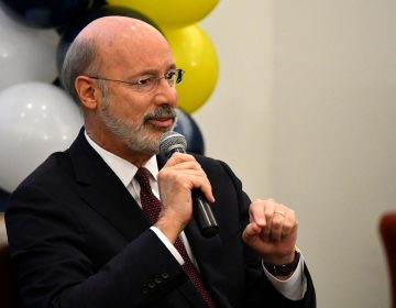 Incumbent Tom Wolf (D) reacts to questions of students at a forum for the Democratic and Republican candidate for the seat of Governor, at the School District of Philadelphia headquarters. (Bastiaan Slabbers for WHYY)