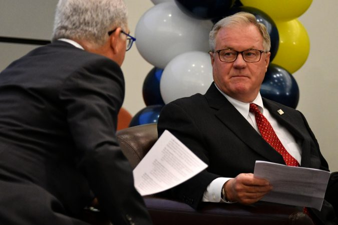 Scott Wagner listens to a question from moderator Michael Barkam at the forum. (Bastiaan Slabbers for Keystone Crossroads)