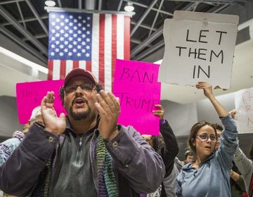 Protesters angered by President Donald Trump's executive order that prevented refugees from entering the U.S. rally at Philadelphia International Airport in January 2017. (Branden Eastwood for WHYY, file)