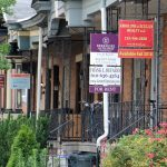 Rowhomes at 34th and Spring Garden Street for sale or rent. (Emma Lee/WHYY)