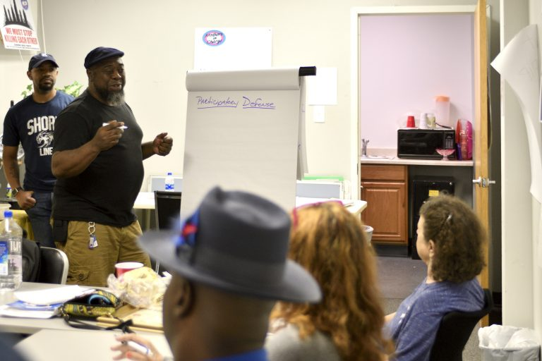 Steve Austin, a facilitator of Philadelphia's participatory defense program, talks about tapping the resources of the community that knows defendants. (Bastiaan Slabbers for Keystone Crossroads)