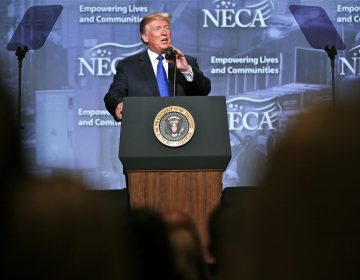 President Donald Trump addresses the National Electrical Contractors Association at the Pennsylvania Convention Center in Philadelphia.