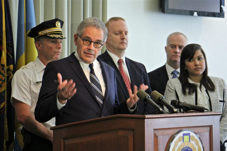 Philadelphia District Attorney Larry Krasner announces criminal charges against major narcotics traffickers in Kensington.