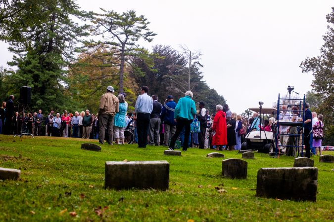 Attendees of a memorial service for the forgotten slaves buried on the grounds of Middletown Friends Meeting at Langhorne, Pa. on Saturday, Oct. 6, 2018. (Brad Larrison for WHYY)