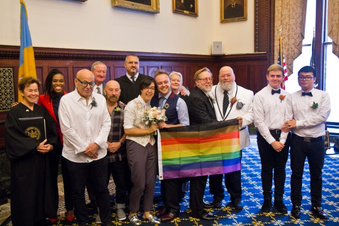 2 couples were married and 2 couples renewed their vows at the National Coming Out Day event at City Hall Thursday. (Kimberly Paynter/WHYY)