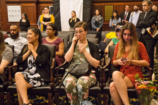 Friends and family of 4 couples taking vows were emotional at the National Coming Out Day event at City Hall Thursday. (Kimberly Paynter/WHYY)