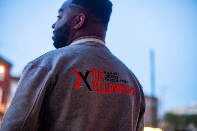 Vincent Cobb, CEO of The Fellowship: Black Male Educators for Social Justice, outside of Union Transfer where events for the organization's second annual convention were held Friday evening. (Brad Larrison for WHYY)