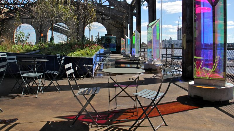The Cherry Street Pier creates an indoor/outdoor public space on the Delaware River near the Ben Franklin Bridge. (Emma Lee/WHYY)