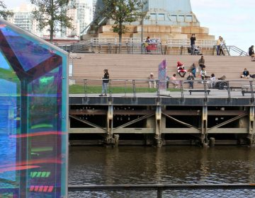 The Cherry Street Pier's artwork is echoed on the neighboring Race Street Pier. (Emma Lee/WHYY)