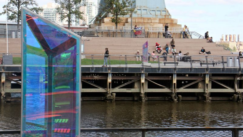The Cherry Street Pier's artwork is echoed on the neighboring Race Street Pier. (Emma Lee/WHYY)