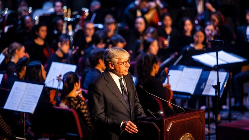 Lee C. Bollinger, president of Columbia University, speaks at a memorial service for the late H.F.