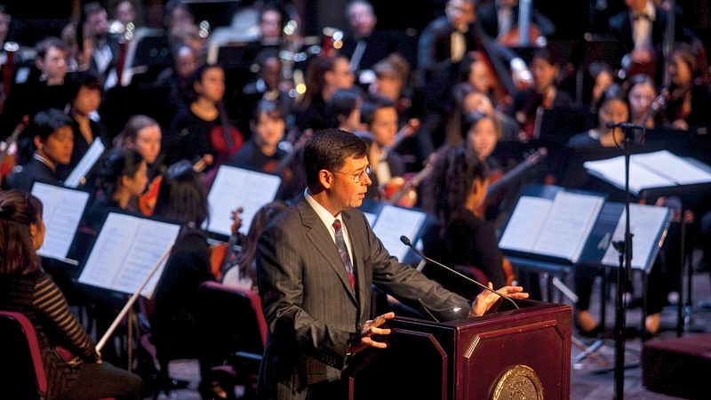 Roberto Diaz, president and CEO of the Curtis Insitute of Music, speaks at a memorial service for the late H.F.