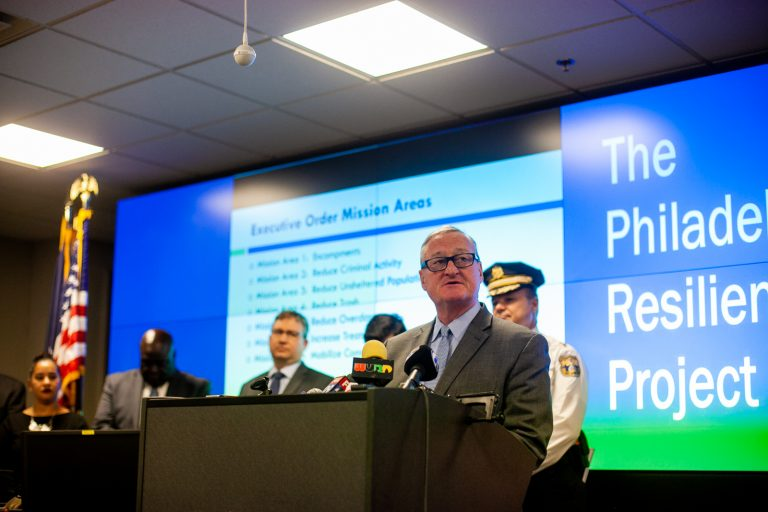 Mayor Jim Kenney and city officials speak at a press conference on the city's emergency response to combat the opiod epidemic in Kensington and surrounding neighborhoods. (Brad Larrison for WHYY)