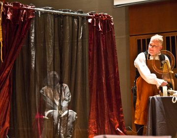Living historian Dean Howarth re-enacts science experiments that were performed on corpses that could have inspired Mary Shelley's Frankenstein. (Kimberly Paynter/WHYY)