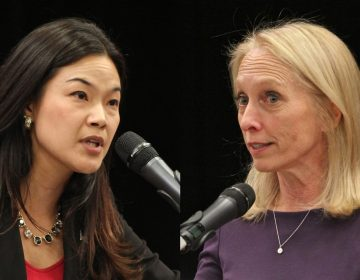 Candidates for Pennsylvania's 5th Congressional District, Republican Pearl Kim (left) and Democrat Mary Gay Scanlon, square off during a debate at Delaware County Community College in Delaware. (Emma Lee/WHYY)