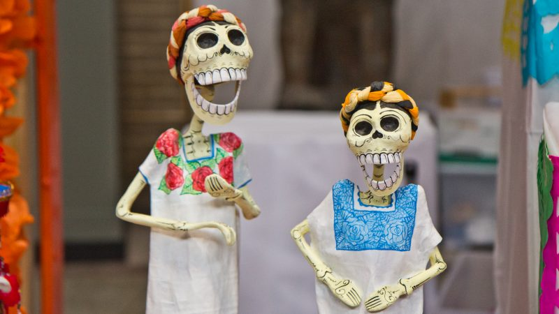 The Day of the Dead altar features many skulls as a remembrance of the dead. (Kimberly Paynter/WHYY)
