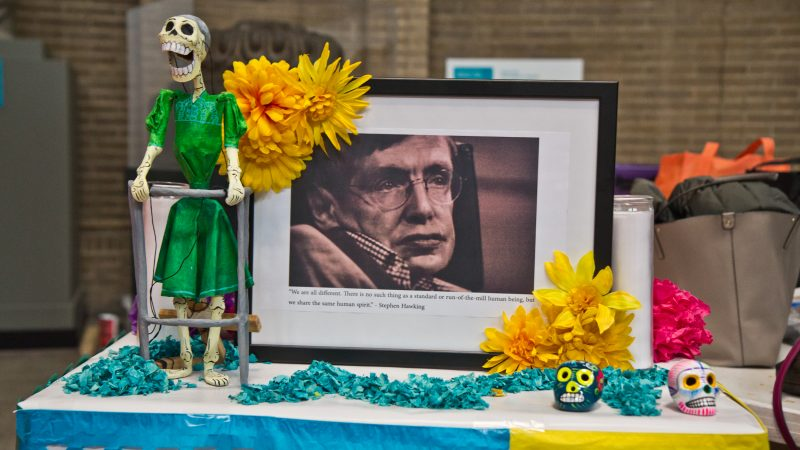 Stephen Hawking is honored on the Day of the Dead altar. (Kimberly Paynter/WHYY)