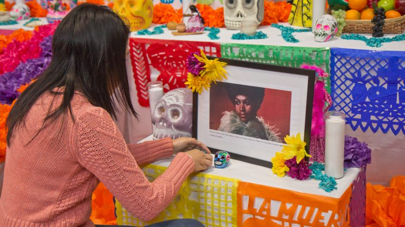 Aretha Franklin is honored on the Day of the Dead altar. (Kimberly Paynter/WHYY)