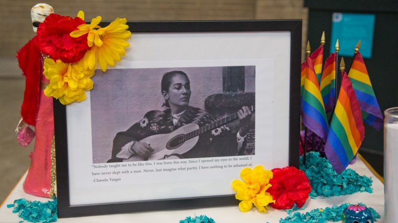 Chavela Vargas is honored on the Day of the Dead altar. (Kimberly Paynter/WHYY)