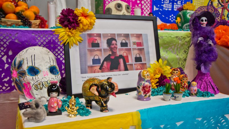 Kate Spade is honored on the Day of the Dead altar. (Kimberly Paynter/WHYY)
