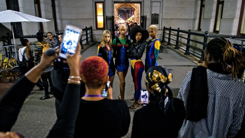 Models stand for a group photo backstage at Philadelphia Fashion Week, held at Dilworth Park. (Kriston Jae Bethel for WHYY)