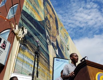 The Octavius Catto mural at Broad and Catharine streets was dedicated at a Tuesday ceremony.(Peter Crimmins/WHYY)
