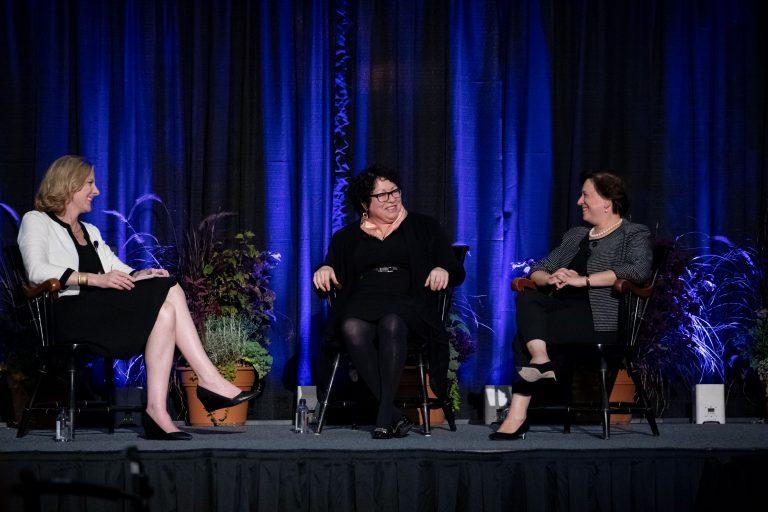 Elena Kagan '81, Sonia Sotomayor '76; moderator Heather gerken '91,She Roars Conference, Jadwin Gym. (Photo courtesy of Princeton University)