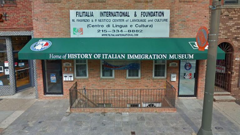 Vandals spray painted on the History of Italian Immigration Museum. (Google Maps)