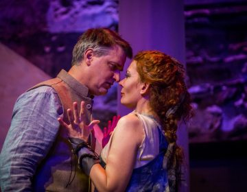 Jared Reed as Jason and Jennifer Summerfield as Medea in Hedgerow Theatre's production of