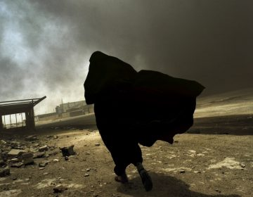 An Iraqi woman walks through a plume of smoke rising from a massive fire at a liquid gas factory as she searches for her husband in Basra, Iraq, May 2003.
