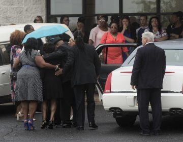 People gather for 18-year-old Bianca Roberson's viewing and funeral at St. Paul's Baptist Church in West Chester, Pa., Friday, July 7, 2017. A man driving down a Pennsylvania highway shot the recent high school graduate in the head, killing her, as the two tried to merge into a single lane, authorities said. (Matt Rourke/AP Photo)