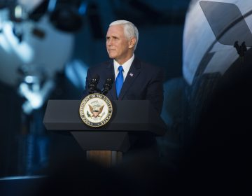 Vice President Mike Pence delivers opening remarks during the National Space Council's first meeting, Thursday, Oct. 5, 2017 at the Smithsonian National Air and Space Museum's Steven F. Udvar-Hazy Center in Chantilly, Va. (Joel Kowsky/NASA via AP)