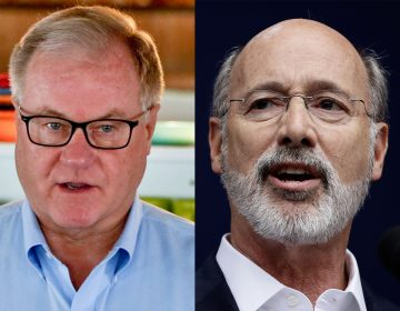 Republican Scott Wagner (left) has vowed to stomp on the face of Gov. Tom Wolf, a Democrat, in the increasingly vitriolic Pennsylvania gubernatorial campaign. A Wagner campaign spokesman says the threat was metaphorical. (AP file photos)