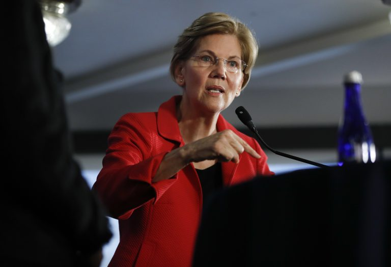 Sen. Elizabeth Warren, D-Mass., gestures while speaking at the National Press Club in Washington, Tuesday, Aug. 21, 2018. (Pablo Martinez Monsivais/AP Photo)