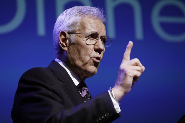 Moderator Alex Trebek speaks during a gubernatorial debate between Democratic Gov. Tom Wolf and Republican Scott Wagner in Hershey, Pa., Monday, Oct. 1, 2018. The debate is hosted by the Pennsylvania Chamber of Business and Industry. (AP Photo/Matt Rourke)