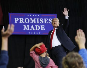 President Donald Trump waves to supporters after speaking at a campaign rally at Kansas Expocentre, Saturday, Oct. 6, 2018 in Topeka, Kan. (AP Photo/Pablo Martinez Monsivais)