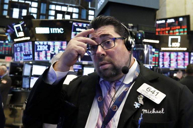 Trader Michael Capolino works on the floor of the New York Stock Exchange, Thursday, Oct. 11, 2018. The market's recent decline was set off by a sharp drop in bond prices and a corresponding increase in yields last week and early this week. (Richard Drew/AP Photo)