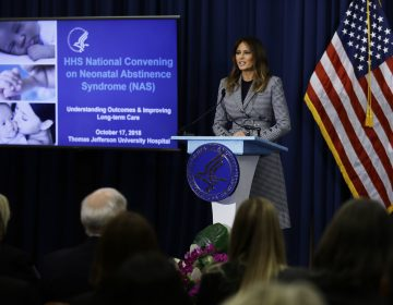 First lady Melania Trump speaks during a visit to Thomas Jefferson University Hospital in Philadelphia, Wednesday, Oct. 17, 2018. (Matt Rourke/AP Photo)
