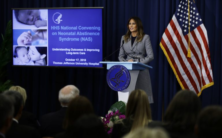 First lady Melania Trump visits Philly to support tracking system for babies born in opioid withdrawal