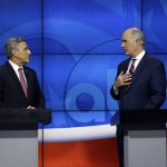 U.S. Sen.Bob Casey, D-PA, delivers his closing statement during a debate with Republican challenger U.S. Rep. Lou Barletta, Saturday Oct. 20, 2018, in the studio of WPVI-TV in Philadelphia. Casey, 58, of Scranton, is seeking a third six-year term. Barletta, 62, of Hazleton, is in his fourth term in Congress. (AP Photo/Jacqueline Larma)