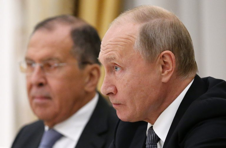Russian President Vladimir Putin listens to U.S. National security adviser John Bolton during their meeting in the Kremlin in Moscow, Russia, Tuesday, Oct. 23, 2018, with Russian Foreign Minister Sergey Lavrov at left. (Alexander Zemlianichenko/AP Photo)