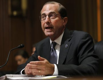 In this June 26, 2018 file photo, Health and Human Services Secretary Alex Azar speaks during a Senate Finance Committee hearing on Capitol Hill in Washington.  Azar says the number of drug overdose deaths has begun to level off after years of relentless increases driven by the opioid epidemic. But Azar cautioned in a speech Tuesday it's too early to declare victory.  (Jacquelyn Martin/AP Photo)