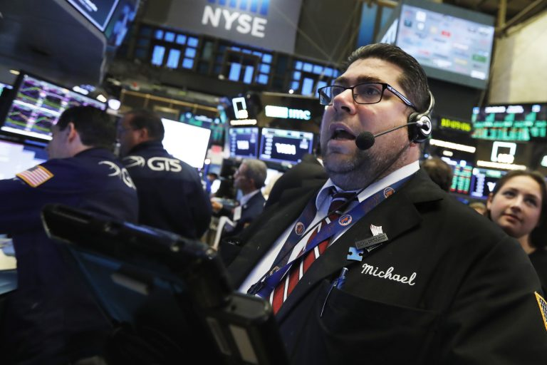 Trader Michael Capolino works on the floor of the New York Stock Exchange, Thursday, Oct. 25, 2018. Strong results from major companies including Microsoft, Visa and Comcast are sending U.S. stocks higher Thursday morning as the market found its footing after three weeks of steep declines. (Richard Drew/AP Photo)